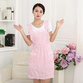 韓版時尚圍裙防水廚房防油圍腰公主可愛女做飯反穿衣成人罩衣長袖 卡布奇诺