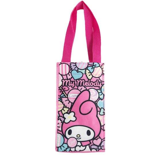 小禮堂 美樂蒂 方形保冷水壺袋 (粉糖果款) 4713218-21035