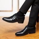 男鞋冬季加絨黑色男士正裝皮鞋男韓版商務英倫尖頭套腳休閒鞋子男