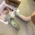 平底單鞋女韓版百搭方頭淺口一腳蹬奶奶鞋瓢鞋豆豆鞋【慢客生活】