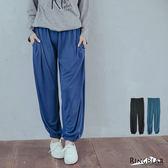 棉褲--舒適休閒寬鬆感素面鬆緊帶褲頭棉褲(黑.藍XL-4L)-P112眼圈熊中大尺碼