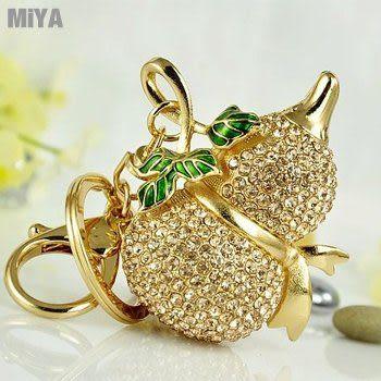聚寶葫蘆鑲貼水鑽可愛造型包包掛飾鑰匙圈扣(捷克鑽) 金色
