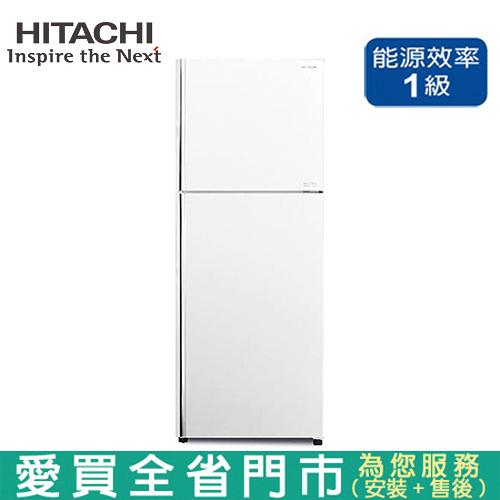 HITACHI日立403L雙門變頻琉璃冰箱RG409-GPW含配送+安裝【愛買】