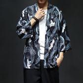 中國風道袍防曬外套七分袖情侶款日系日式和風唐裝男和服寬鬆薄款 居享優品