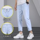 牛仔褲夏季褲子2020新款牛仔褲男士直筒寬鬆潮流夏天薄款休閒九分褲
