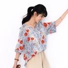 【慢。生活】薄款文藝印花寬版小衫 8885  FREE 橘色