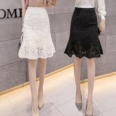 高腰黑色魚尾裙半身裙蕾絲中長款荷葉邊a字包臀裙女  伊衫風尚