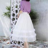 網紗裙百褶高腰蓬蓬紗裙