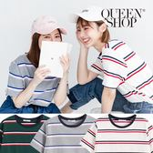 Queen Shop【01037678】羅紋領配色橫條短T 三色售*現+預*