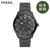 FOSSIL BELMAR 多功能三眼黑色不鏽鋼手錶FS5576