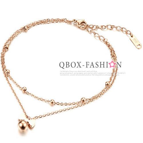 《 QBOX 》FASHION 飾品【W2016N020】 精緻個性雙層蝴蝶結圓珠玫瑰金鈦鋼腳鍊/腳環