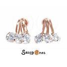 Sassy Ones 歐美簡約線條垂吊鋯石耳環