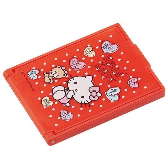 小禮堂 Hello Kitty 迷你方形塑膠隨身鏡 隨身化妝鏡 折鏡 立鏡 (紅 愛心) 4973307-47039