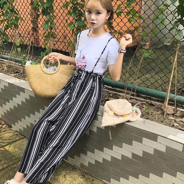 [超豐國際]夏季女裝港味百搭撞色豎條紋高腰闊腿褲寬松顯瘦吊帶1入