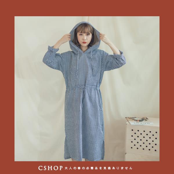 洋裝   泡泡綿紗雙口袋連帽洋裝   二色-小C館日系