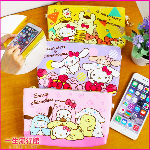 《5.7吋》Hello Kitty 凱蒂貓 布丁狗 大耳狗 正版 觸控手機包 (附鍊子) 側背包 斜背包 收納包 A03099