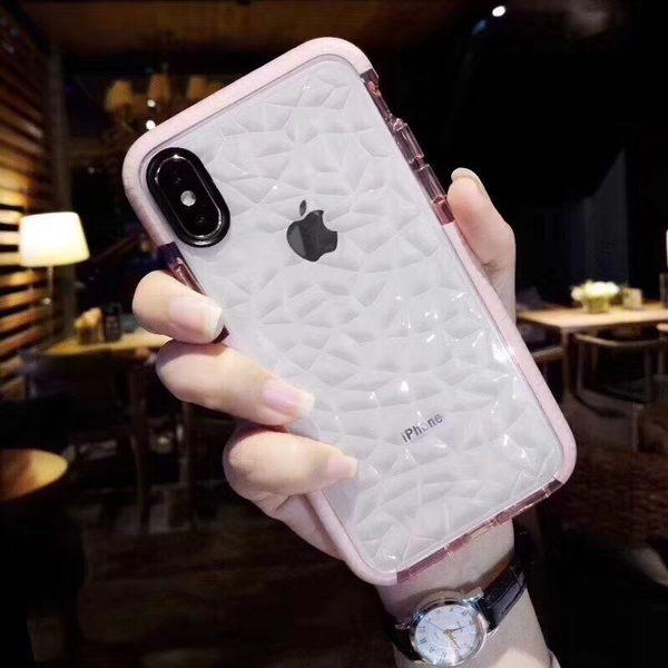 【SZ15】iPhoneX手機殼 拼色鑽石紋全包防摔 透明 矽膠 網紅潮牌 iPhone7/8plus 9 iPhone6s手機殼
