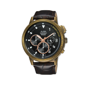 ALBA雅柏 新上市廣告款 限量帥氣三眼計時皮帶錶 VD53-X340U (AT3G40X1)復古銅X咖啡