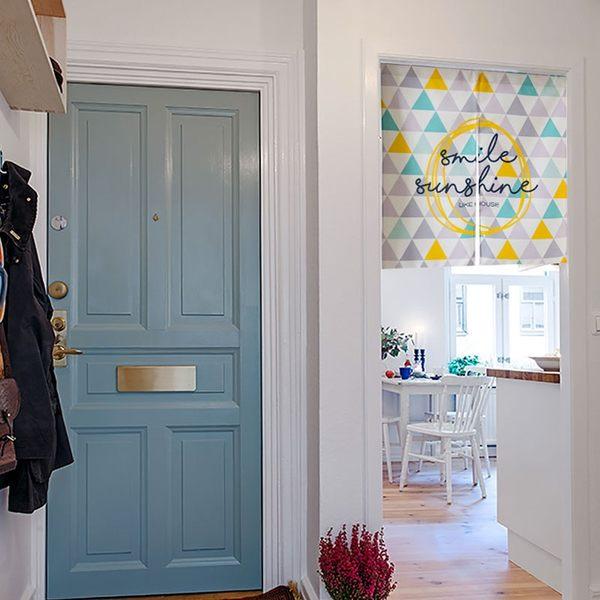 可愛時尚棉麻門簾E291 廚房半簾 咖啡簾 窗幔簾 穿杆簾 風水簾 (85寬*90cm高)