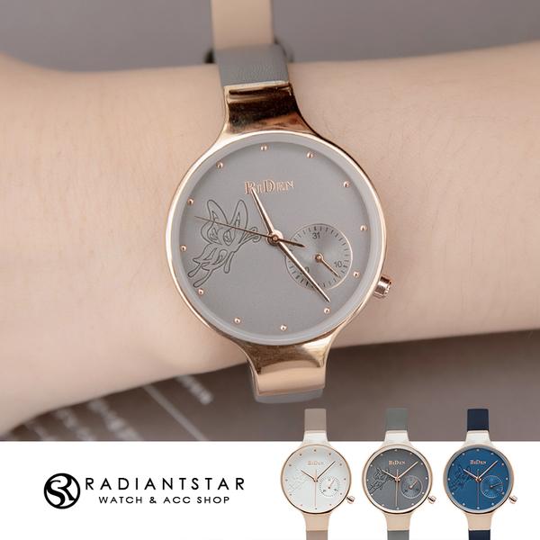 BIDEN森林精靈浮雕蝴蝶日期顯示真皮手錶【WBI0193】璀璨之星☆