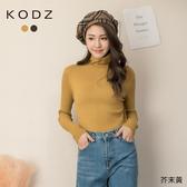 東京著衣【KODZ】休閒百搭高領不對稱坑條設計針織毛衣(191447)