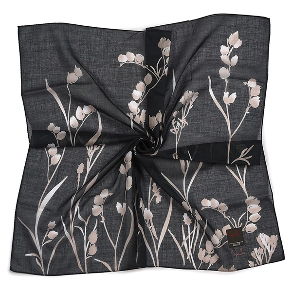 Sybilla風鈴花圖案純綿帕領巾(黑色)989164-111
