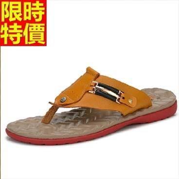 沙灘拖鞋-真皮夏季透氣清涼舒適夾腳男休閒鞋2色66r23[巴黎精品]