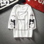 韓版寬鬆T恤男士5分短袖歐美個性印花七分袖休閒中袖 俏腳丫