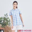 Red House 蕾赫斯-格紋長版襯衫(淺藍色)