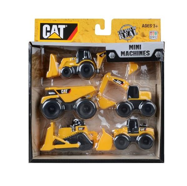 CAT迷你工程車5款組/卡車/推土機/壓路機/小山貓/砂石車/挖士機/伯寶行