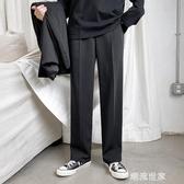休閒長褲男寬鬆薄款西裝褲墜感垂感闊腿夏季冰絲褲韓版潮流直筒褲『潮流世家』