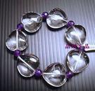 天然白水晶&紫水晶手鍊*心心相印* 超大...