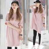 韓國春夏新款純色寬鬆體恤 女大碼中長款純棉短袖T恤裙上衣女學生 一米陽光