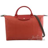 茱麗葉精品【全新現貨】Longchamp Le Pliage Cuir 撞色羊皮兩用大旅行袋 #1630