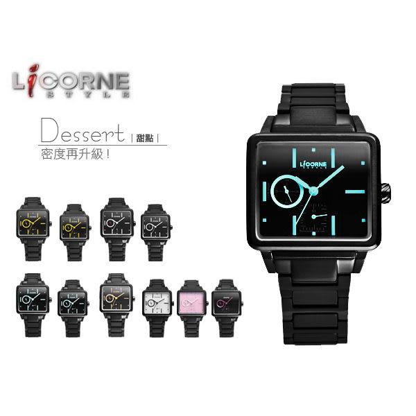 柒彩年代-力抗LICORNE甜點手錶 多功能藍寶石型男黑金腕錶 原廠公司貨LI023MBBI-K【NE543】單支
