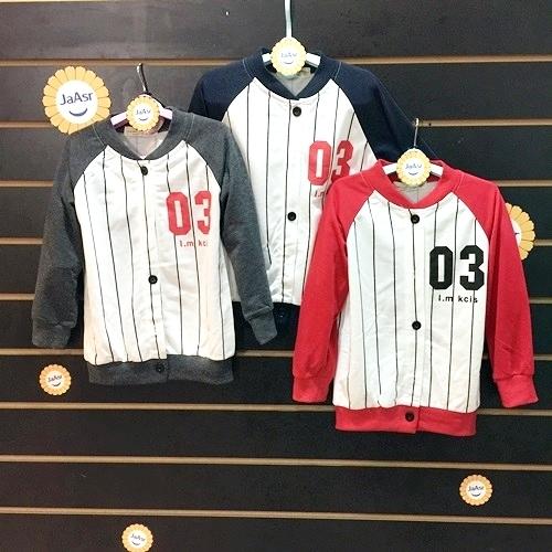 ☆棒棒糖童裝☆(1301)秋冬男童插肩數字3棒球款薄外套 5-15