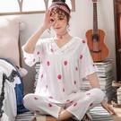 韓版薄款純棉綢家居服睡衣女夏季綿綢短袖長褲女士人造棉可愛套裝「時尚彩紅屋」