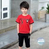 兒童套裝 男童夏裝套裝帥氣短袖2019新款韓版潮中大童夏季小孩衣服兒童兩件 6色