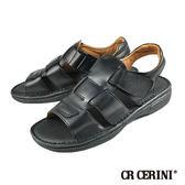 【CR CERINI】輕量氣墊式真皮涼鞋 黑色(55181-BL)