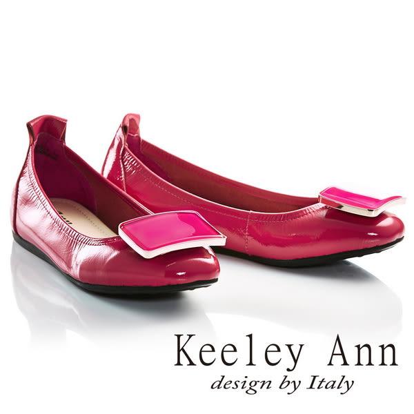 ★2017春夏★Keeley Ann氣質百搭~方形飾釦全真皮平底娃娃鞋(桃紅色)-Ann系列