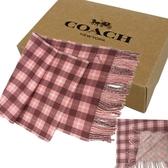 【COACH】新款經典LOGO格紋羊毛圍巾禮盒(格紋粉)
