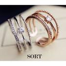 戒指 三層精緻款 氣質甜美水鑽百搭一體成形開口式戒指【1DDR0050】
