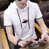 正韓連帽T恤夏季短袖T恤男生連帽修身青少年初中學生有帶帽子的戴帽衫衛衣潮M-3XL