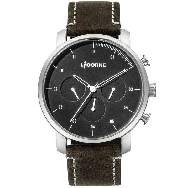 【LICORNE】MYO系列 精工品味三眼手錶 (黑/深灰 LT124MWB_MUCL)