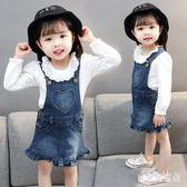 女童牛仔吊帶裙 寶寶背帶裙公主裙兒童秋休閒吊帶背心裙 BF13393『寶貝兒童裝』