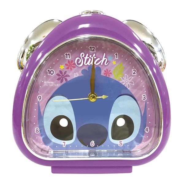 T'S FACTORY 三角飯糰造型鬧鐘 附夜燈功能 桌鐘 時鐘 迪士尼 史迪奇 大臉 紫