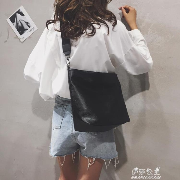 韓版包包女包新款純色大容量托特包PU時尚個性百搭單肩斜背包 伊莎公主