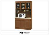 【MK億騰傢俱】BS312-01樟木色仿石紋面4尺碗盤餐櫃組