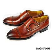 【MAGNANNI】橫飾雙釦孟克紳士皮鞋 棕色(15197-COG)