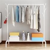 晾衣架落地折疊室內單桿式衣帽架臥室簡易晾衣桿網紅曬掛衣服架子